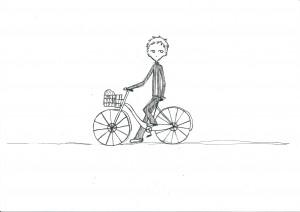 あきら自転車_羊を振り返る