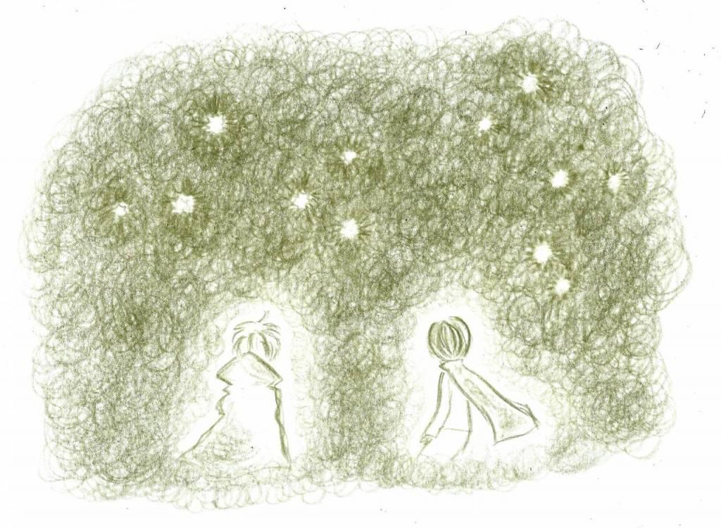 星空を眺める王子とデュナ